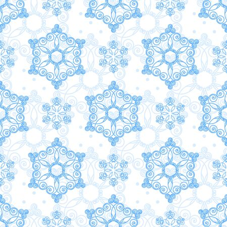 snowflake: Seamless pattern with hand drawn snowflakes. Christmas vector illustration. Template for greeting card, invitation, wrapping