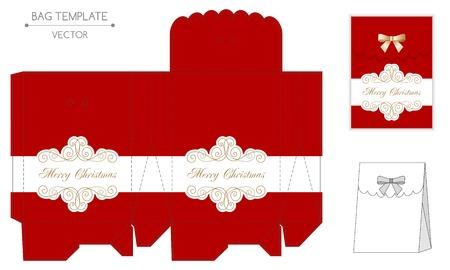 diecut: Christmas gift bag design. Die cut. Christmas vector illustration