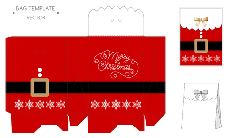 die cut: Christmas gift bag design. Die cut. Christmas vector illustration
