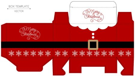 die cut: Christmas gift box design. Die cut. Christmas illustration