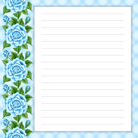 Lined Page For Notes Design In Retro Style. Floral Background. Template For  Scrap Booking  Lined Page Template
