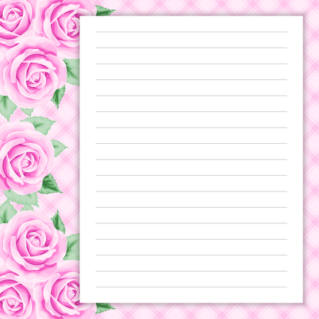 blank note: Lined page for notes design in retro style. Floral background. Template for scrap booking, notebook, diary, sticker, greeting card. Place for text. Illustration