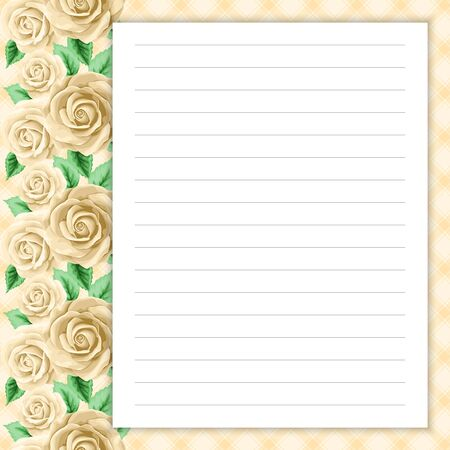 Lined Page For Notes Design In Retro Style. Floral Background