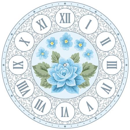 Uitstekende wijzerplaat met de hand getekende kleurrijke rozen en krullend design elementen. Shabby chic illustratie