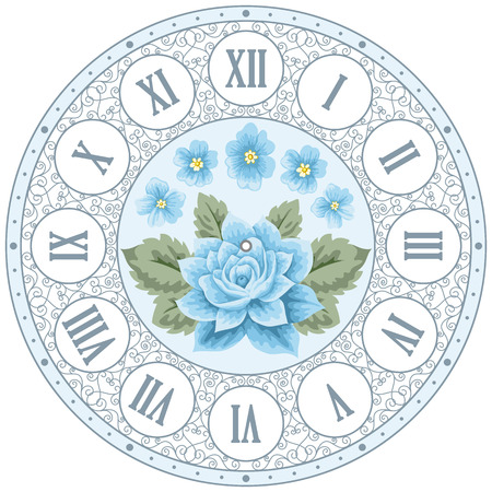 round the clock: Vintage clock face with hand drawn colorful roses and curly design elements. Shabby chic illustration