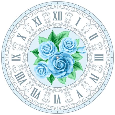 Weinlese-Uhr-Gesicht mit Hand gezeichneten bunten Rosen und geschweiften Design-Elemente. Shabby chic illustration Standard-Bild - 49464078