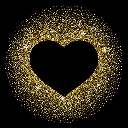 Rahmen in der Form eines Herzens aus funkelnden Konfetti auf schwarzem Hintergrund. Valentinstag-Karte Vorlage Standard-Bild - 49818487