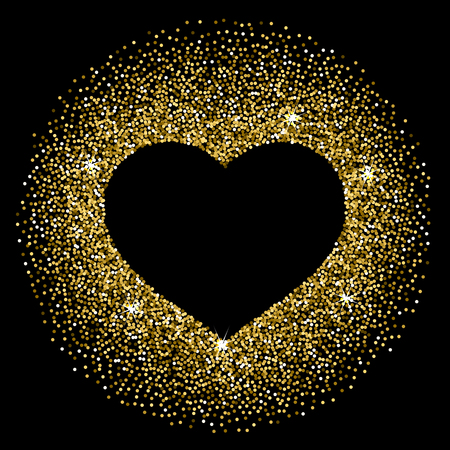 Frame in the shape of a heart made of sparkling confetti on black background. Valentines day card template Illustration