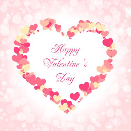 Valentijnsdag kaartsjabloon. Vectorillustratie met een frame van harten. Happy Valentines day SMS-bericht