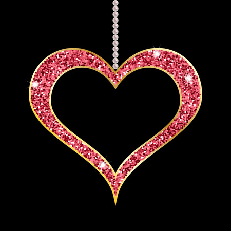 pearl necklace: Pearl necklace with heart shaped golden pendant on black background. Vector illustration Illustration