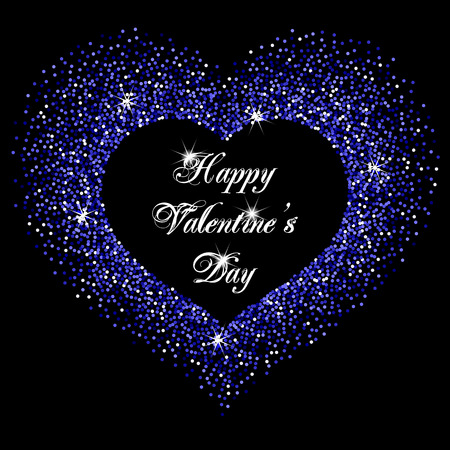 sequin: Frame in the shape of a heart made of sparkling confetti on black background. Valentines day card template Illustration
