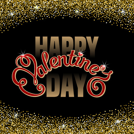 Happy Valentines Day text message in sparkling confetti frame on black background. Hand drawn lettering. Valentines day card template