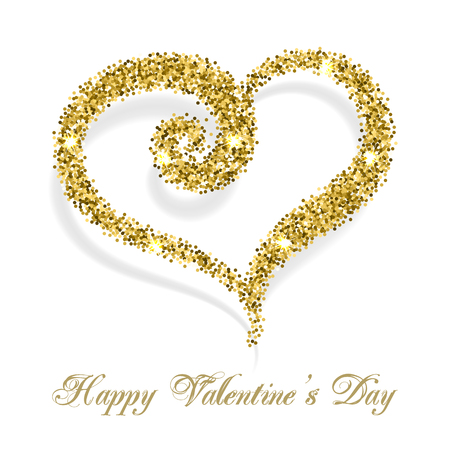 white day: Sparkling confetti heart on white background. Happy Valentines Day text message. Valentines day card template
