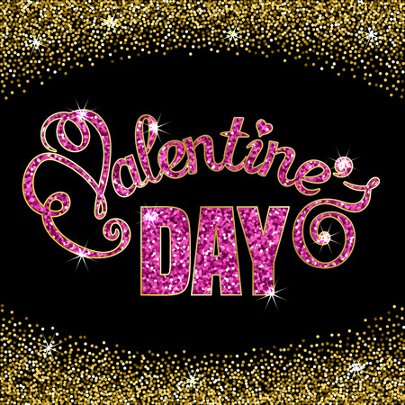 Valentines Day text message made of sparkling confetti on black background. Hand drawn lettering. Valentines day card template