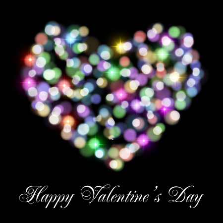 shiny heart: Valentines day card with shiny heart made of bokeh lights. Happy Valentines Day text message.  Illustration