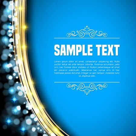 Background with golden lines, bokeh and sparks. Vector illustration