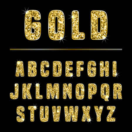 Glitter alphabet made of gold shiny confetti. Vector illustration