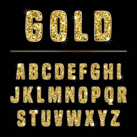 Glitter alphabet made of gold shiny confetti. Vector illustration