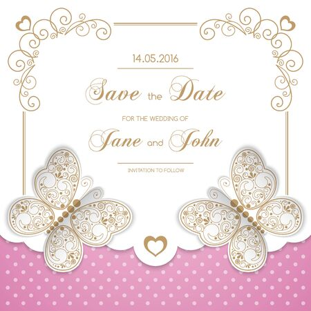 Vintage wedding invitation with butterflies and calligraphy frame on polka dot background. Save the date design. Vector illustration Illustration
