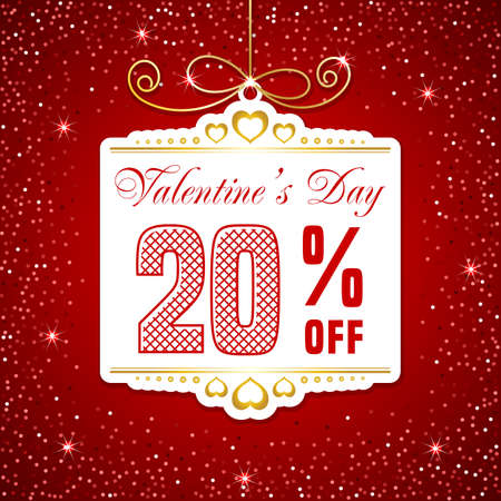 Valentines day sale. Sale label template on red background with sparkling confetti. Vector illustration