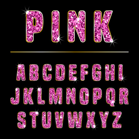 pink and black: Glitter alphabet made of pink shiny confetti. Vector illustration