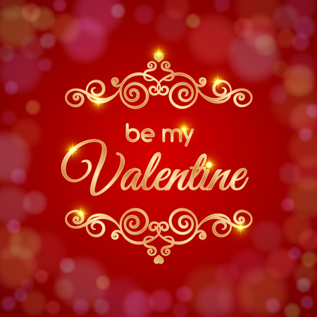 Valentines day card. Be my Valentine text message.  Vector illustration Illustration