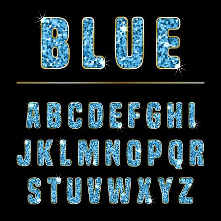 Glitter alphabet made of blue shiny confetti. Vector illustration