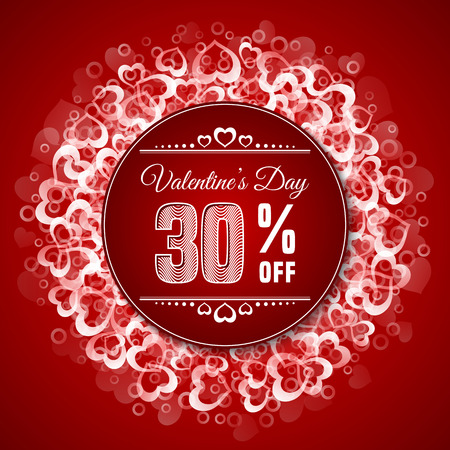 Valentines day sale. Sale label template on red background with heart shape confetti. Vector illustration Ilustração