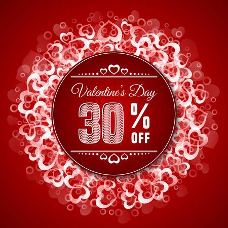 Valentinstag Verkauf. Sale-Label-Vorlage auf rotem Hintergrund mit Herzform Konfetti. Vektor-Illustration Standard-Bild - 51008804