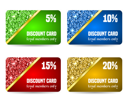 prepaid: Set of discount card templates. Vector illustration