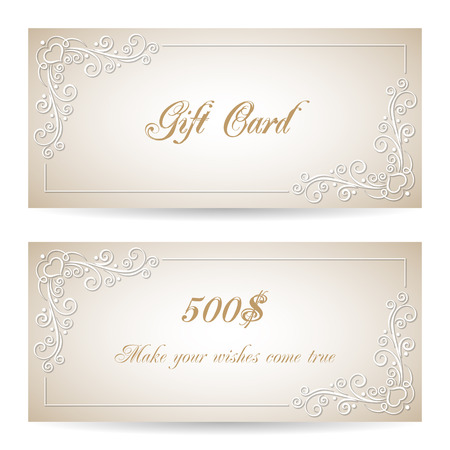 prepaid: Gift card template with calligraphy design elements. Vector illustration Illustration