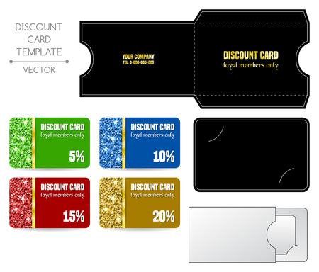 gift voucher: Set of discount card templates with envelope. Vector illustration