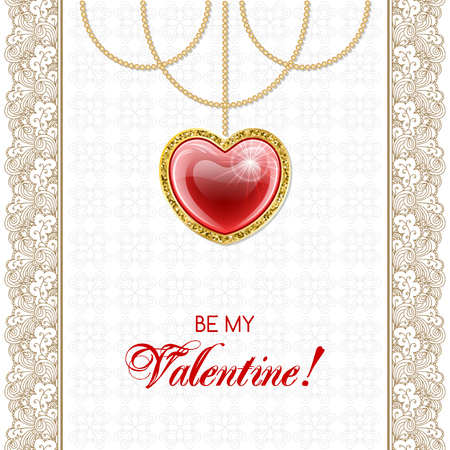 Valentines Day Design with hanging red heart pendant and lacy borders. Retro style vector illustration Illustration