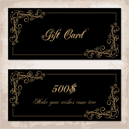 black borders: Gift card template with calligraphy design elements on black background. Vector illustration