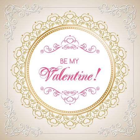 Valentines Day card design with calligraphy frame in retro style. Vector Illustration.