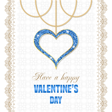 Valentines Day Design with hanging blue heart pendant and lacy borders. Retro style vector illustration