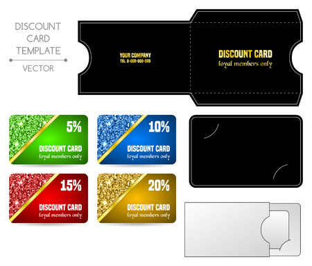 prepaid card: Set of discount card templates with envelope. Vector illustration
