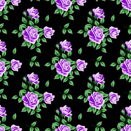 Seamless pattern with purple roses and leaves on black background. Vector illustration in retro style.