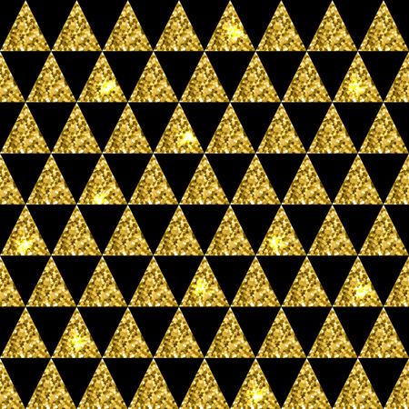 Glittering seamless pattern of triangles on black background. Vector illustration Illustration