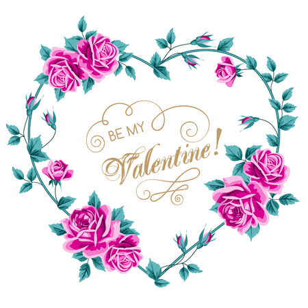 Valentines day flower card with roses. Vector Illustration in retro style