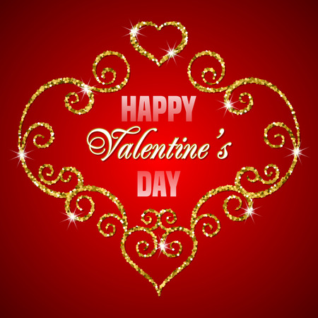 Valentines day card with glitter ornament. Happy Valentines day text message.  Vector illustration Illustration