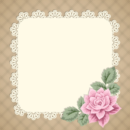 Vintage background with hand drawn rose and lace doily on gingham background. Greeting card, invitation template. Vector illustration Illustration