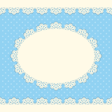 greeting card background: Vintage background with lace doily on polka dot background. Greeting card, invitation template. Vector illustration Illustration