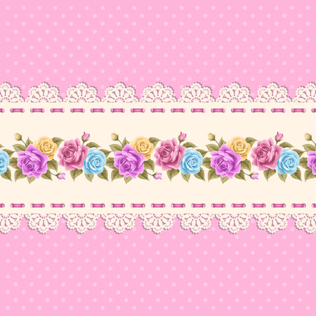 vintage lace: Vintage background with hand drawn roses and lace border on polka dot background. Greeting card, invitation template. Vector illustration