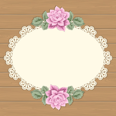 antique chic: Vintage background with hand drawn roses and lace doily on wood background. Greeting card, invitation template. Vector illustration