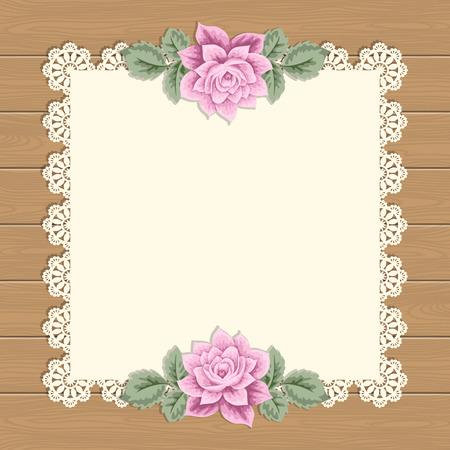 sfondo d'epoca con rose disegnati a mano e centrino di pizzo sullo sfondo di legno. biglietto di auguri, invito modello. illustrazione di vettore