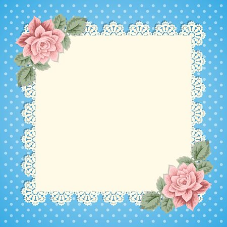greeting card background: Vintage background with hand drawn roses and lace doily on polka dot background. Greeting card, invitation template. Vector illustration Illustration