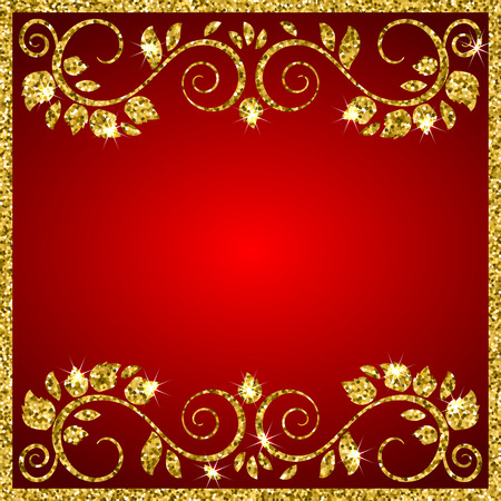red metal: An elegant vector background with shiny floral ornamental frame. Place for your text. Vector illustration