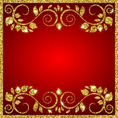 Een elegante vector achtergrond met glanzende floral sier frame. Plaats voor uw tekst. vector illustratie