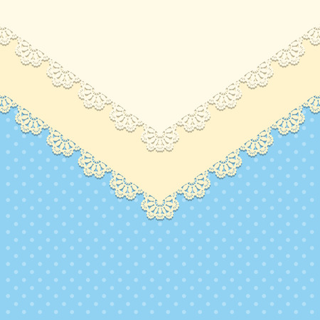 lace doily: Vintage background with lace doily on polka dot background. Greeting card, invitation template. Vector illustration Illustration